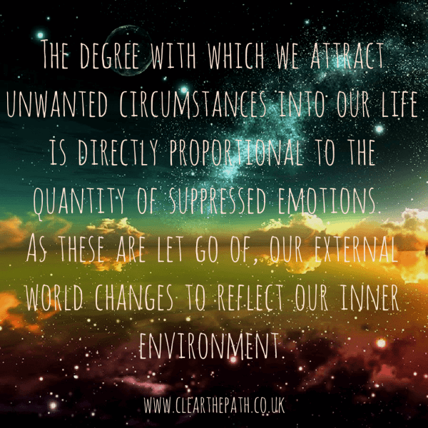 The degree with which we attract unwanted circumstances into our life is directly proportional to the quantity of suppressed emotions. As these are let go of our external world changes to reflect our inner environment.