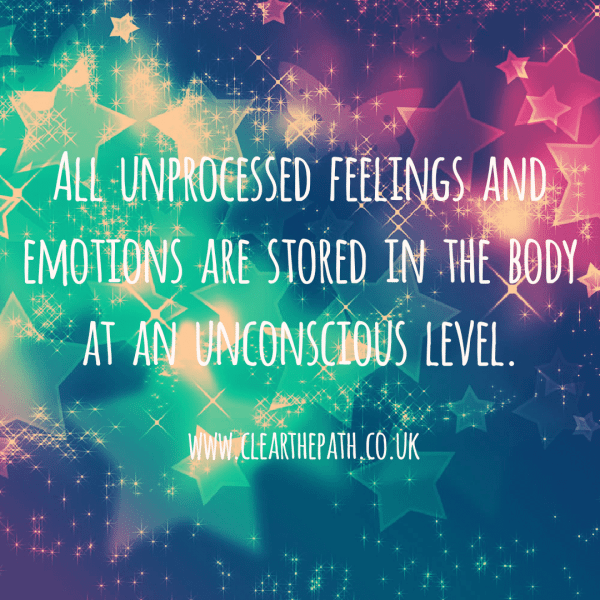 All unprocessed thoughts and feelings are stored in the body at an unconscious level.