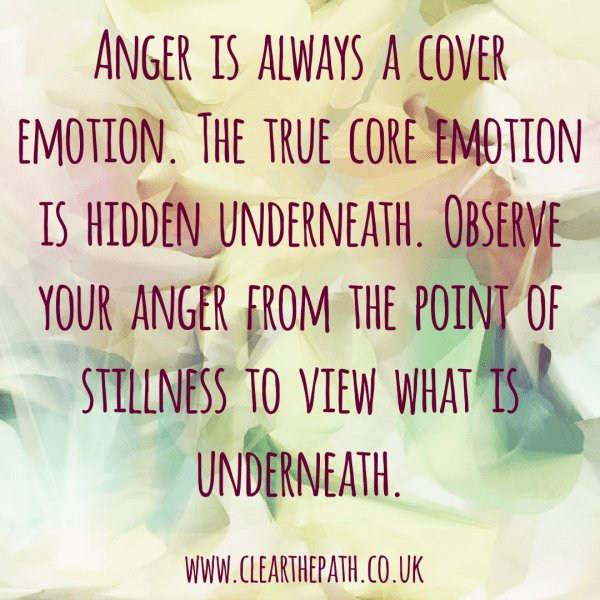 Anger is always a cover emotion. The true core emotion is hidden underneath. Observe your anger from the point of stillness to view what is underneath.